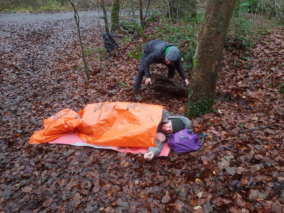 Practising first aid outdoors