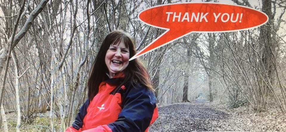 Photo of Judith saying Thank You to volunteers