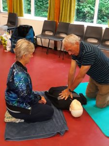 Lead Volunteers learning CPR