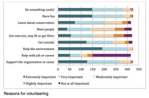 The main reasons for volunteering include having fun, being useful and support for organisation