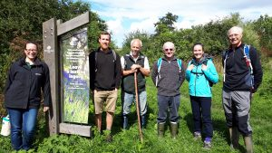 Volunteers and Living Woods representative at Hedley Hall Woods.