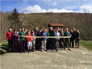 Ribbon being cut to open the Great Trossachs Path